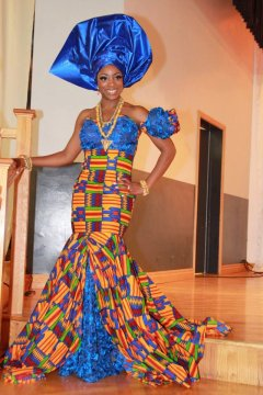 african bride dress mix prints