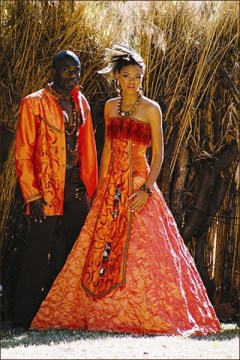african bride in orange dress