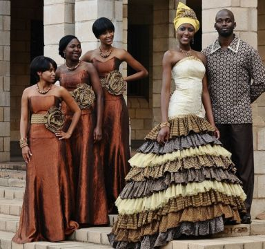 african wedding dress layers prints