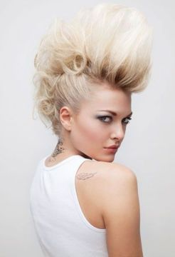 blonde hair big fauxhawk