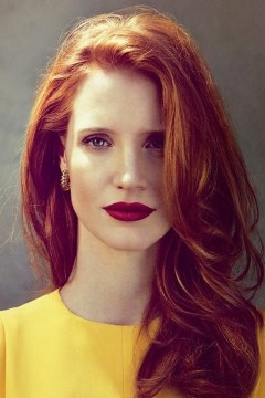 jessica chastain layered red hair