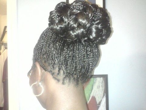 knotted micro braids updo