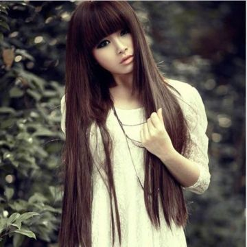 long brown hair with bangs
