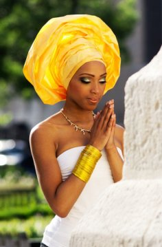 nigerian wedding gown gele