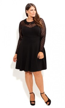 plus size polkadot skater dress