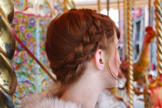 red hair milkmaid braids
