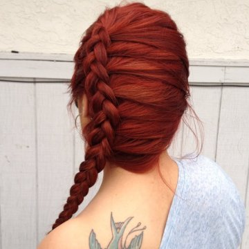 red hair side dutch braid