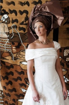 white african wedding dress brown gele
