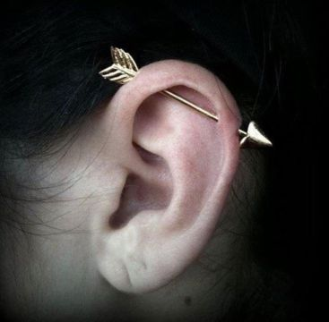 cute industrial piercing