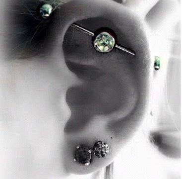 industrial piercing green stone