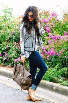 tan flats with bow skinny jeans