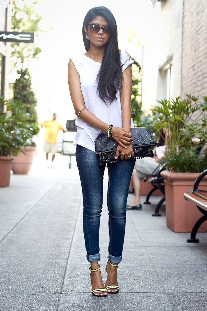 Skinny jean with heels