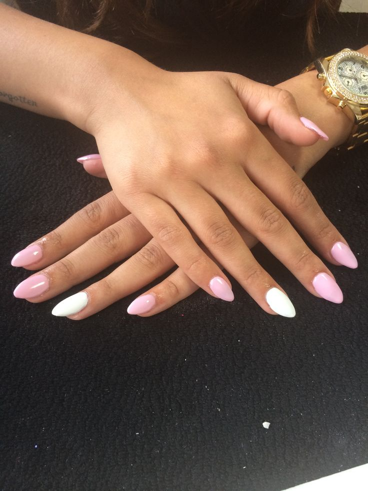 Baby Pink And White Acrylic Nails