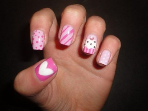 cute pink and white nails