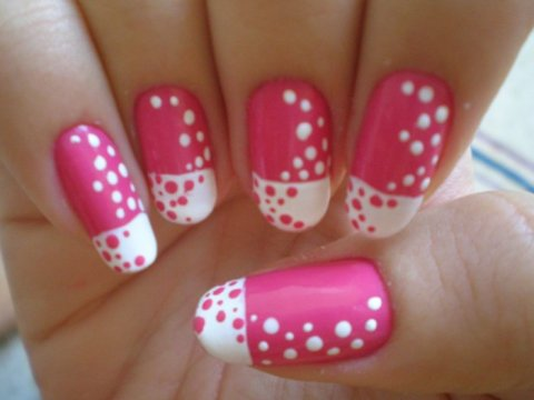 modern French pink and white gel nails