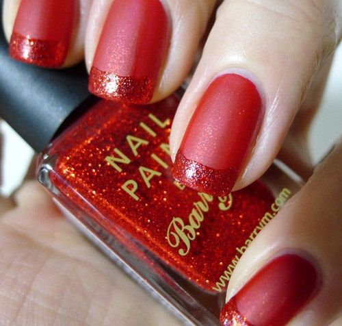 Red Matte nails with Red Glitter French Tip - 40 Red Nail Designs You'll Love, Get Creative! - FMag.com