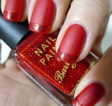 Red Matte nails with Red Glitter French Tip
