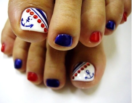 Sailor pedi toe nail designe