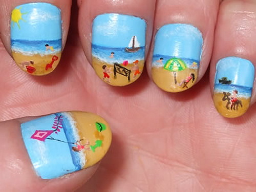 35 unique nail designs to try in summer fmag beach nail art prinsesfo Gallery