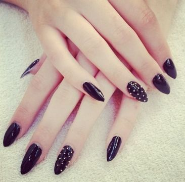 black acrylics with studs
