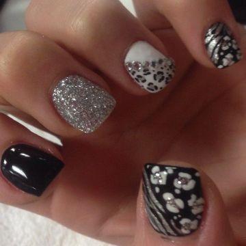 black white silver acrulics