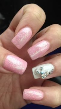 sparkling pink and white nails