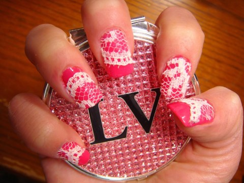 lace pink acrylic nails