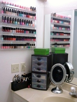 nail polish storage - clear shelves bathroom