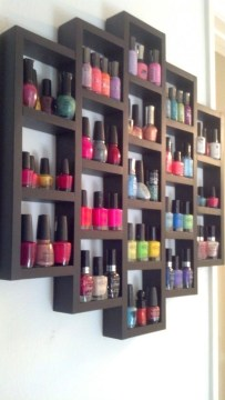 nail polish storage - wooden rack