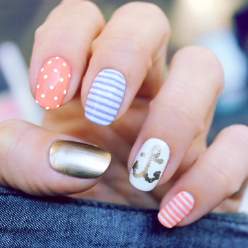 nautical summer nails