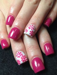 pink flowers acrylic nail design - FMag.com
