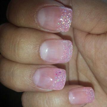 pink glitter solar nails