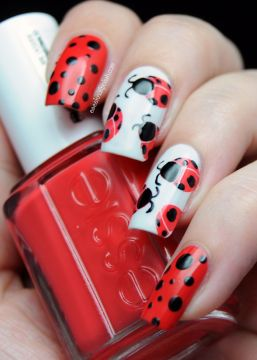 red ladybird nails