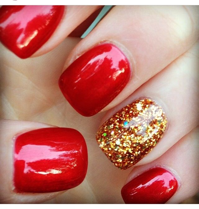 red nails golden glitter accent - 40 Red Nail Designs You'll Love, Get Creative! - FMag.com