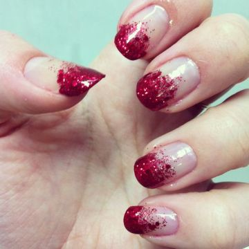 red ombre glitter manicure