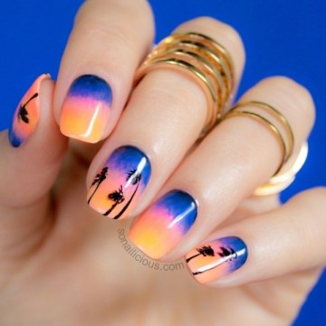 sunset beach palm tree nail design