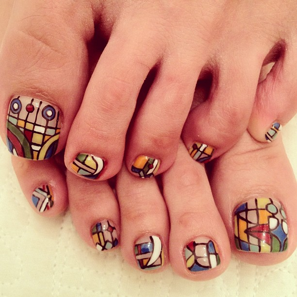 50 incredible toe nail designs ideas fmag superb geometrical pedicure prinsesfo Images