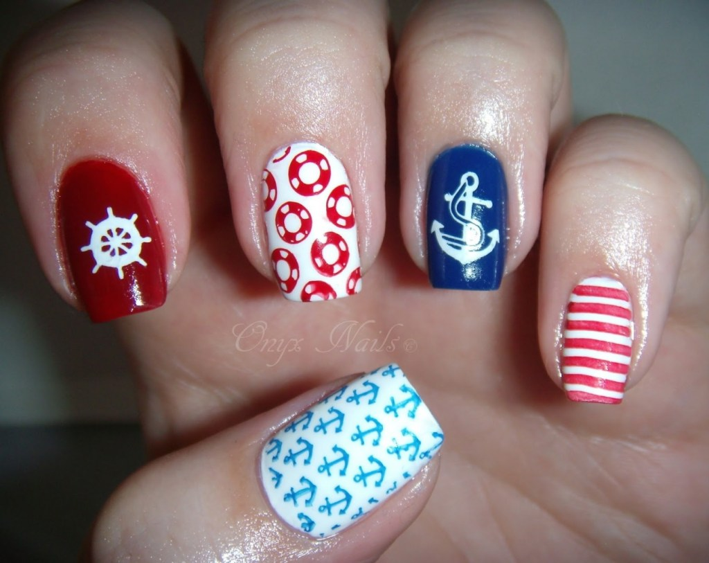 unique nail designs nautical nail art - 35 Unique Nail Designs To Try In Summer - FMag.com