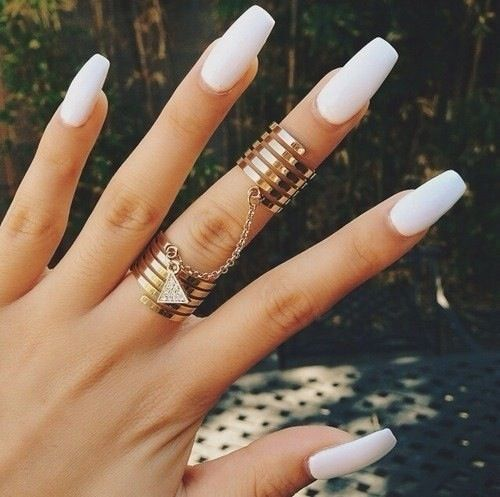 simple white nails - Stunning Pink & White Nails Designs & Ideas FMag.com