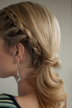 Braided Ponytail Hairstyle for Medium Hair