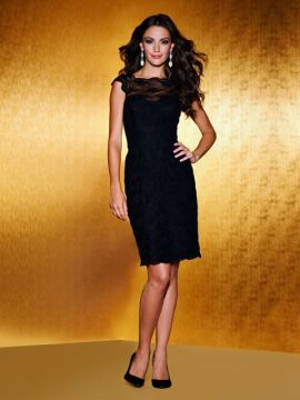 short lace sheath with sheer lace neckline and cap sleeves