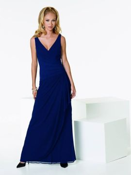 JOR_Draped V-neck Stretch Illusion Midnight Gown with fluted skirt for Bridesmaid