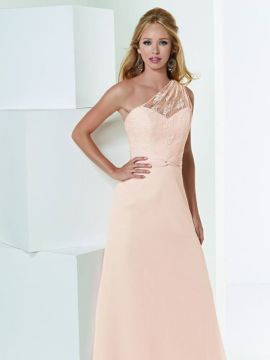 JOR_Lace one shoulder bodice with draped chiffon detail at waist and A-line skirt