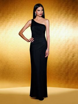 JOR_One shoulder Stretch Illusion gown with side draping.