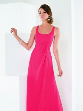chiffon dress with a scoop neck bodice and lattice back