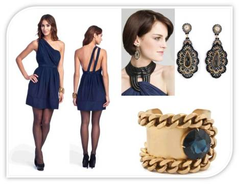 Navy Blue One Shoulder and Accessories