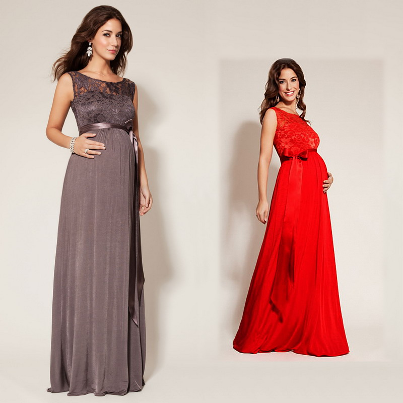 New 2014 Summer Maternity Cocktail Dresses Lace Resilient Long