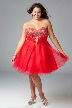Red Sparkle Plus Size Cocktail Dress