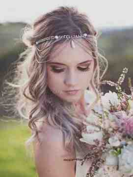 boho wedding hairstyle with forehead band