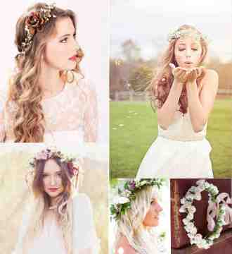 hairstyles with flowers for boho wedding theme